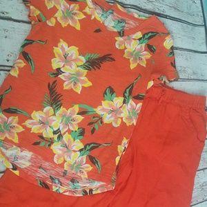 Tropical Hawaiian shirt and pant set